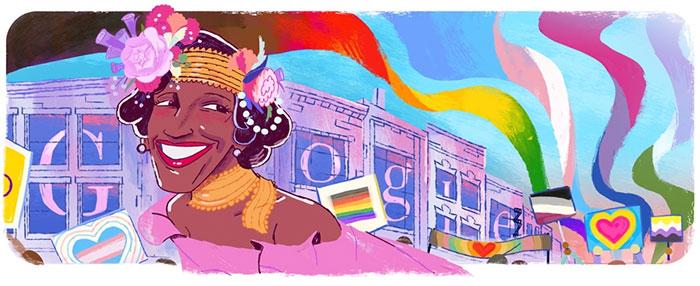Marsha P. Johnson trên biểu trưng của Google ngày hôm nay.