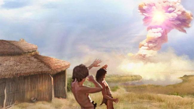 Ảnh minh họa mô phỏng thảm họa vụ nổ của sao chổi hủy cả ngôi làng.