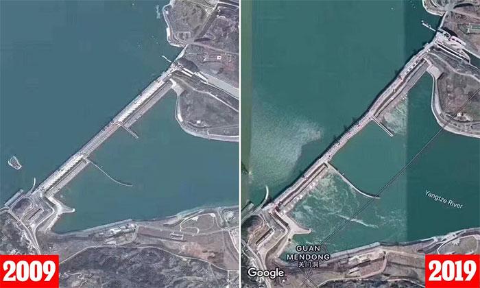 . Năm 2019, bức ảnh chụp đập Tam Hiệp méo mó do tác động của lũ lụt đã khiến nhiều người lo lắng về nguy cơ vỡ đập
