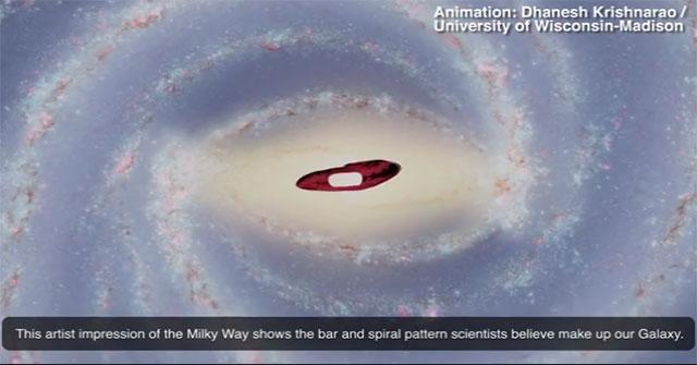 Vệt sáng đỏ rực hình lá cờ ở trung tâm dải Ngân Hà