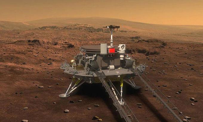 Minh họa trạm đổ bộ của Trung Quốc trên bề mặt sao Hỏa.