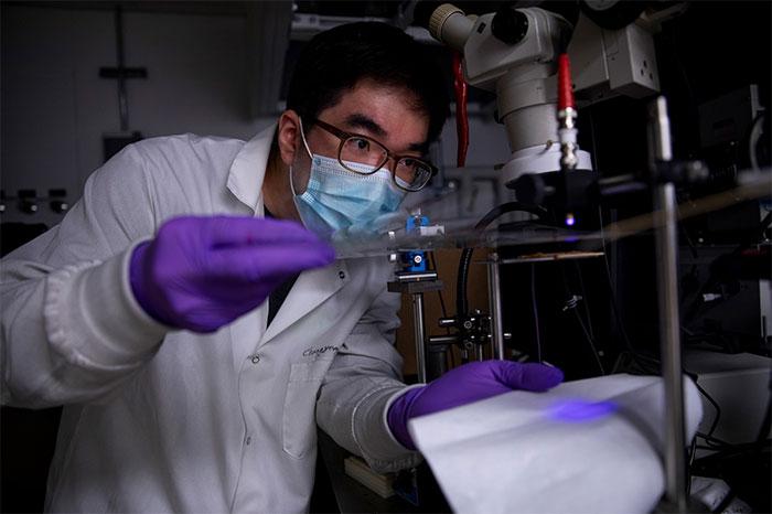 Changyeong Jeong đang phát triển nhựa dẫn điện tại Đại học Michigan.
