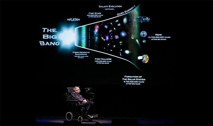 Nhà vật lý Hawking diễn thuyết tại một chương trình ở Seatle, Mỹ vào năm 2012.