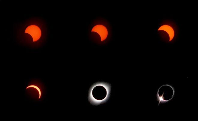Ảnh chụp các giai đoạn của nhật thực, từ một phần cho đến khi đạt đỉnh thành hình khuyên.