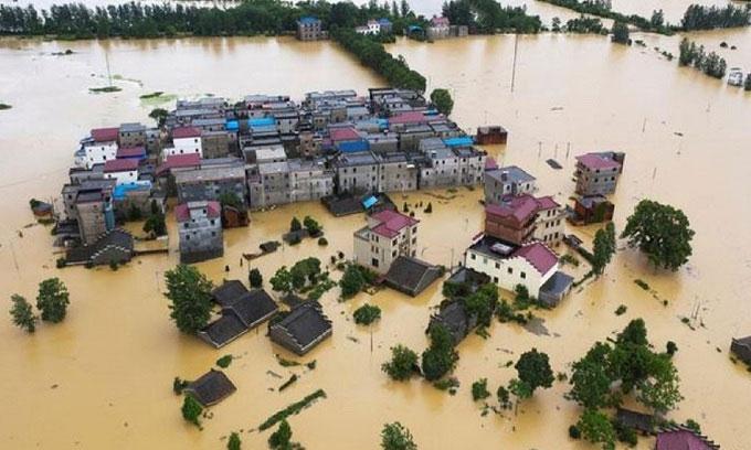 Lũ lụt ở huyện Đô Xương, tỉnh Giang Tây.