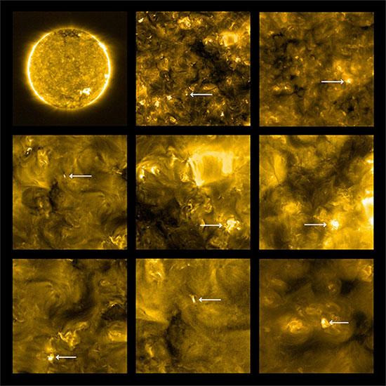 Những vệt lóa nhỏ gần bề mặt Mặt trời.