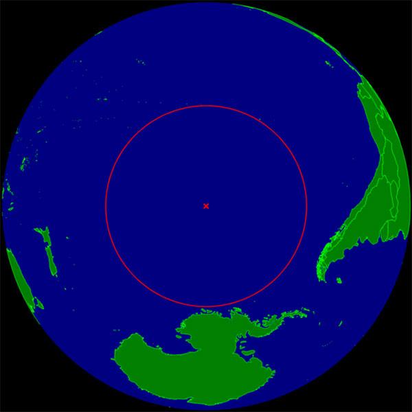 Vị trí của Point Nemo trên bản đồ Thái Bình Dương.