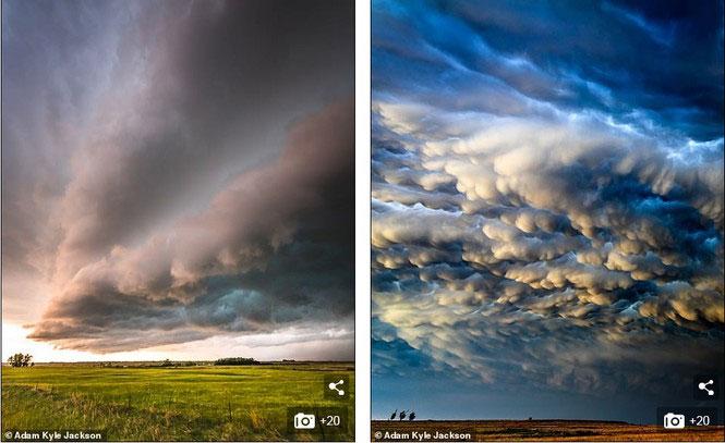 Vẻ đẹp ma mị, đáng sợ của những cuộn mây tại Rock County, Nebraska (trái) và Texas.
