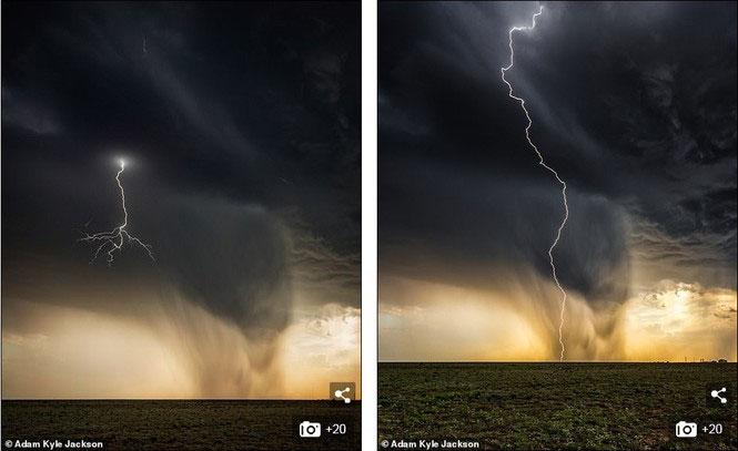 Tia sét tạo nên điểm nhấn hoàn hảo giữa bầu trời đen nghịt ở Roswell, New Mexico.