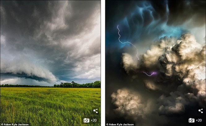 Hai bức ảnh được chụp chụp gần Houston (trái) và Perryton, Texas.