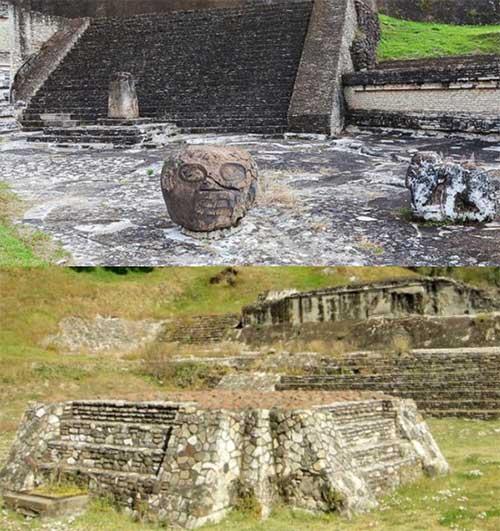 Dấu tích bàn thờ trong khuôn viên kim tự tháp.