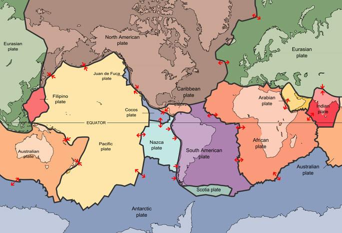 Bản đồ các mảng kiến tạo của Trái đất