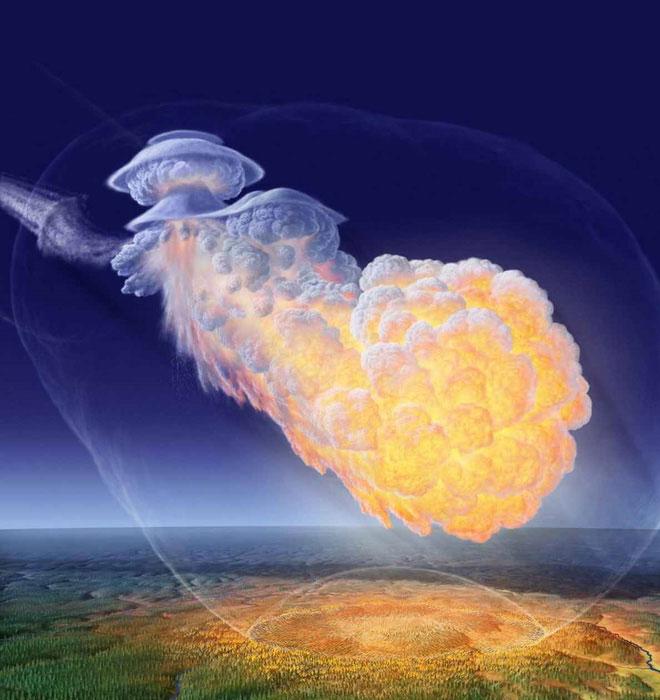 """Hình ảnh phục dựng vụ nổ trên không kinh hoàng năm 1908 mang tên """"Sự kiện Tunguska""""."""