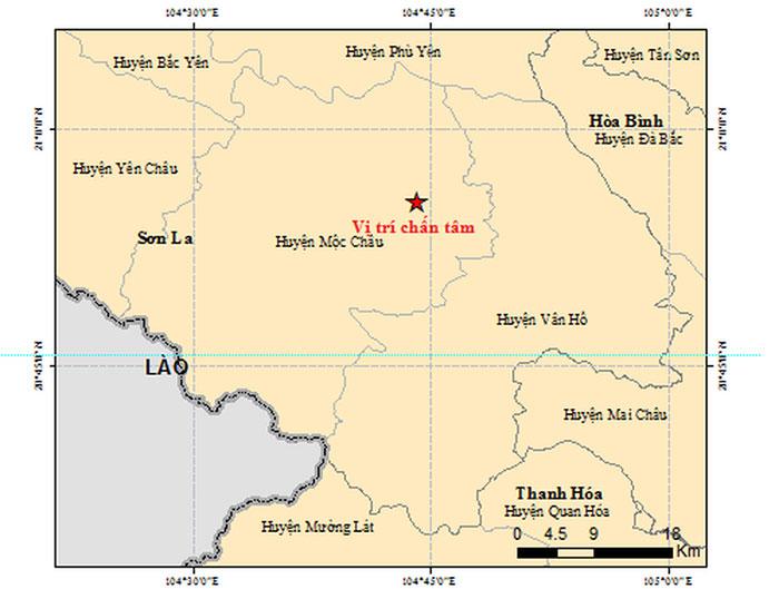 Khu vực xảy ra 2 trận động đất sáng nay 28/7 tại huyện Mộc Châu, tỉnh Sơn La.