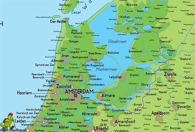Zuiderzee (biển Nam) trước đây vốn nằm trong nội địa và thông với biển Bắc