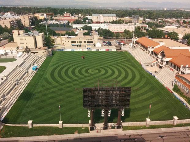 Sân cỏ nhân tạo nhưng đầu tư kha khá tiền cho khâu thiết kế đây!