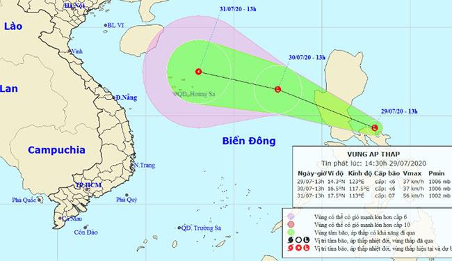 Sơ đồ dự báo áp thấp nhiệt đới.