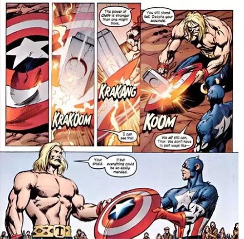 Búa của Thor từng đập lõm chiếc khiên của Captain America.