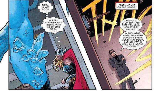 Búa Mjolnir đã từng nhiều lần đối đầu với kim loại amadatium trong phiên bản truyện tranh.