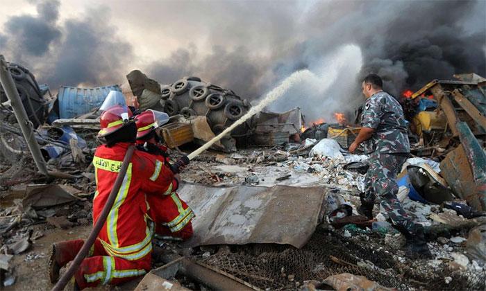 Toàn bộ lực lượng cứu hộ tại thủ đô Beirut được điều động tới khu vực hiện trường sau khi vụ nổ xảy ra.