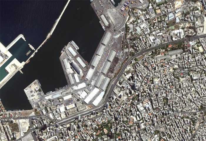 Hình ảnh vệ tinh của cảng Beirut vài ngày trước khi vụ nổ xảy ra.