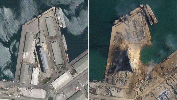 Hình ảnh vệ tinh của nhà kho trước và sau khi xảy ra vụ nổ cảng Beirut.