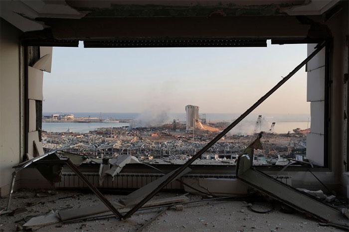 Cảng Beirut và các khu vực lân cận trong vòng bán kính 10km bị phá hủy hoàn toàn sau vụ nổ.