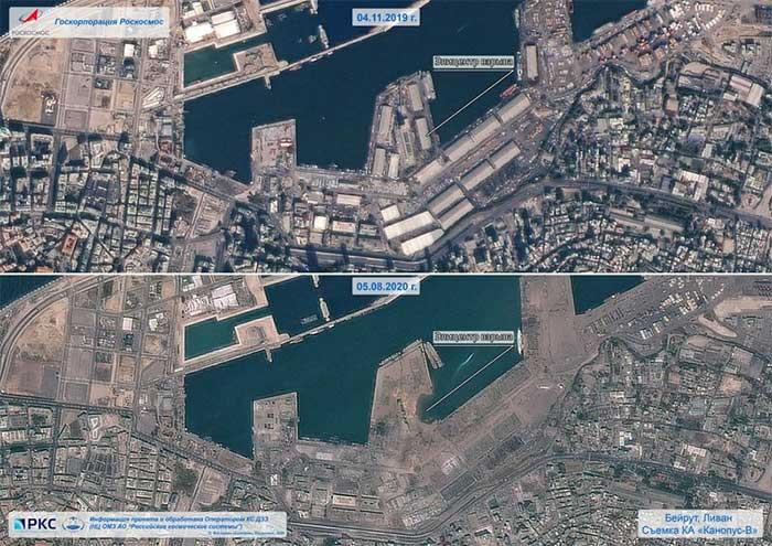 Cảng Beirut (Lebanon) trước khi xảy ra vụ nổ (trên) bị phá hủy sau thảm họa kinh hoàng hôm 4-8 (dưới).