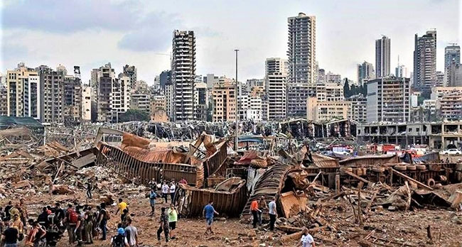 Hiện trường vụ nổ cảng Beirut ngày 4/8/2020.