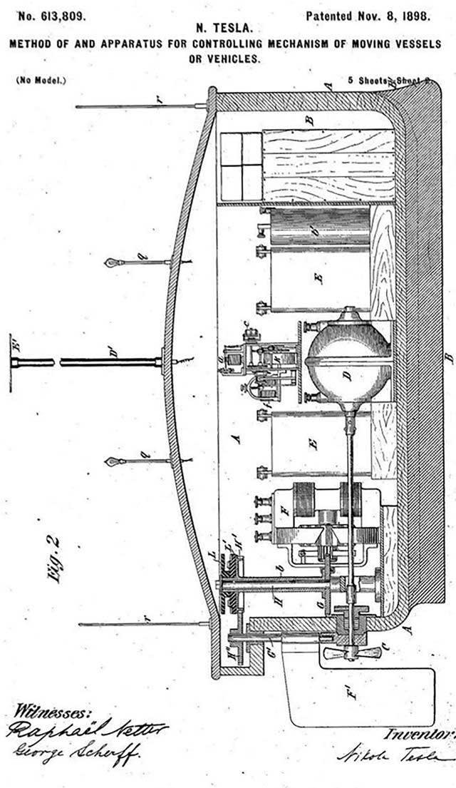 Bằng sáng chế thuyền điều khiển từ xa của Tesla.
