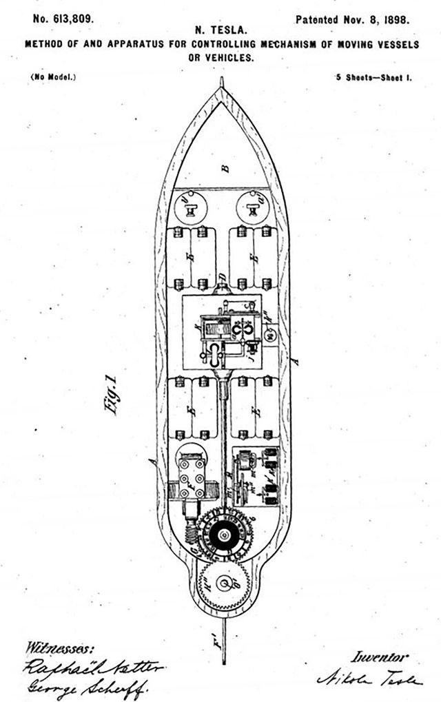 Bằng sáng chế thuyền điều khiển từ xa của Tesla