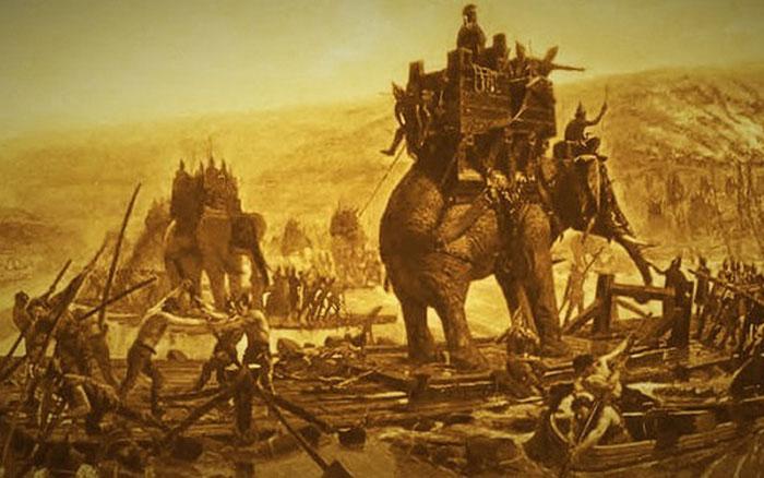 Tranh minh họa trận kịch chiến thành Kalinga của quân đội Ashoka.
