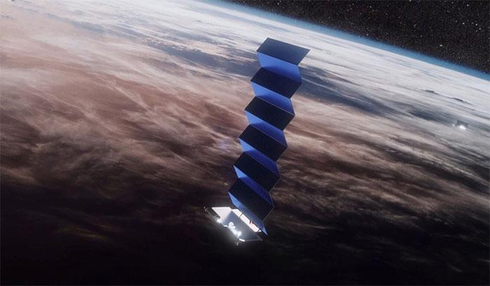 Hình mô tả vệ tinh Starlink trên quỹ đạo.