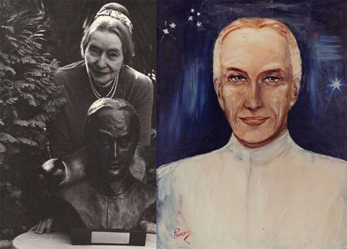 Elizabeth Klarer và tượng, tranh vẽ người ngoài hành tinh Akon, theo mô tả của bà.