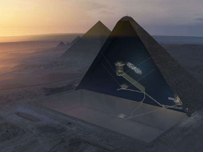 Ảnh minh họa 3D cho thấy kiến trúc bên trong Kim tự tháp Khufu.