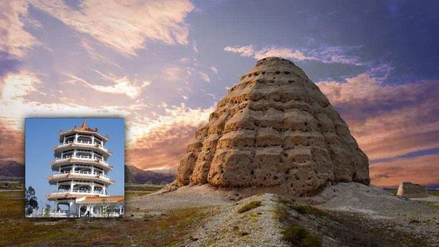Tòa tháp chính lấy cảm hứng từ kiến trúc tháp bát giác đặc trưng trong Phật giáo.