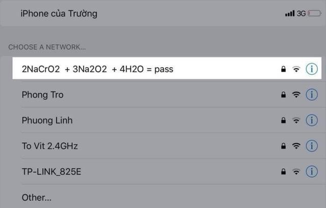 Đặt pass wifi kiểu khó đỡ xưa rồi, giờ phải dùng phương trình hóa học để mã hóa mật khẩu