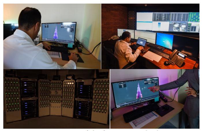 Một căn phòng trong tòa Burj Khalifa dùng để điều khiển màn hình.