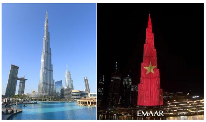 Ngày 2/9, mạng xã hội xuất hiện hình ảnh tháp Burj Khalifa hiển thị lá cờ Việt Nam tung bay.