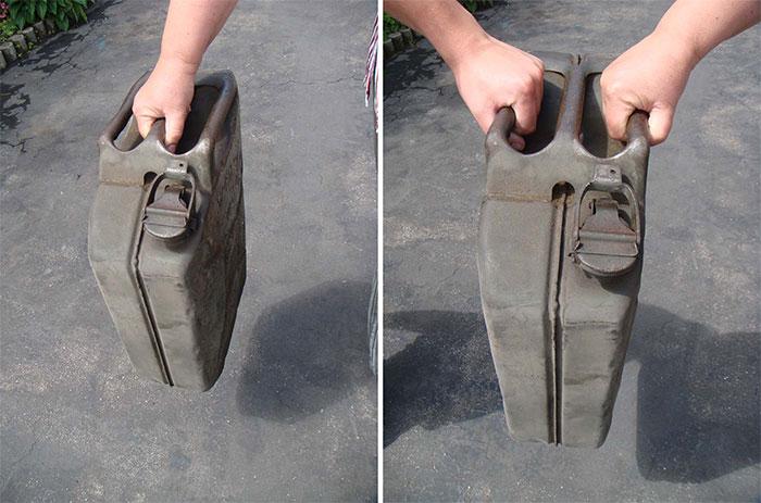 Jerrycan là một loại thùng chứa chất lỏng được làm bằng thép.