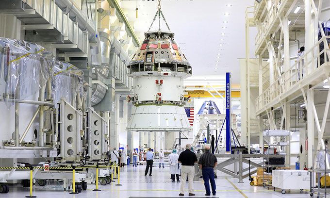 Tàu Orion tại Trung tâm Vũ trụ Kennedy, bang Florida, Mỹ.