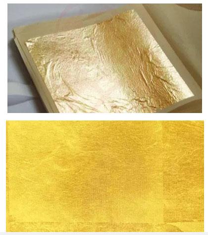 Lớp vàng mỏng này sẽ được dán lên các giấy da rồi cắt thành những sợi dài và vô cùng mảnh