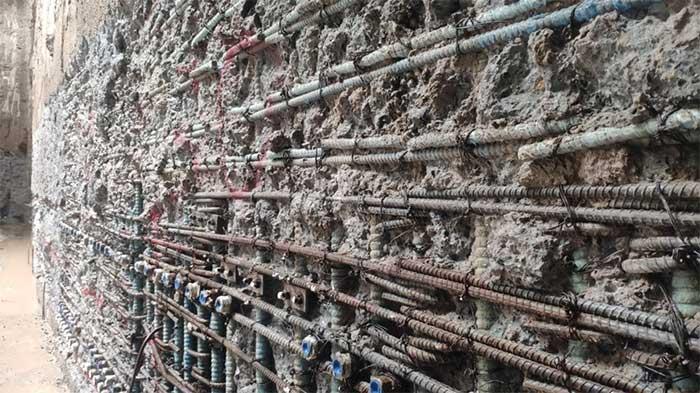 Hiện nay, các đơn vị thi công đã đào xong tầng âm thứ hai của ga ngầm S9-Kim Mã