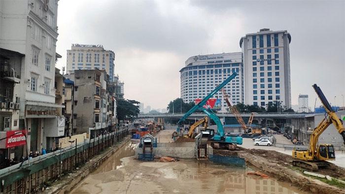 Dự án tuyến đường sắt Nhổn-ga Hà Nội đang được xây dựng có chiều dài 12,5km, gồm 8,5km