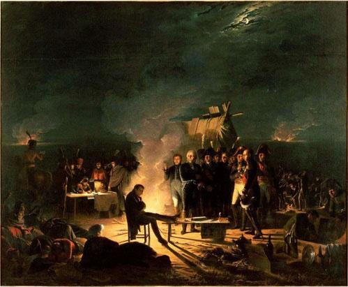 Napoleon cùng các binh sĩ tại Wagram