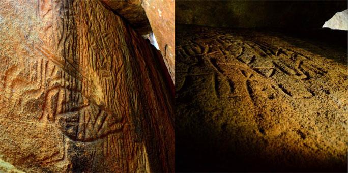 2 trong số các bức tranh khắc đá dày đặc, phủ kín hang động bí ẩn trong Núi Người Ngoài Hành Tinh