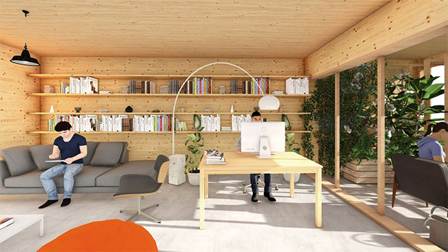 Thiết kế kết hợp nhà ở với không gian mở để làm việc từ xa.