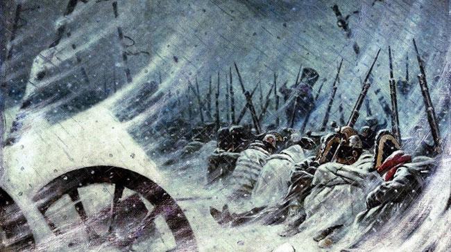 Quân đội của Napoléon sa lầy trong mùa đông khắc nghiệt nước Nga và cuối cùng đại bại vào năm 1812.
