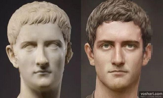 Gương mặt của hoàng đế Caligula do AI phục dựng.