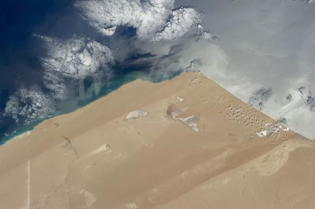 Bức ảnh này chụp từ Trạm Vũ trụ quốc tế, cho thấy khoảng 215 km đường bờ biển của Sahara.
